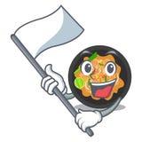 Con il picchiettio della bandiera tailandese sul piatto della mascotte illustrazione di stock