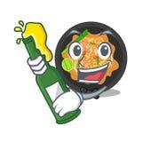 Con il picchiettio della birra tailandese sul piatto della mascotte illustrazione vettoriale