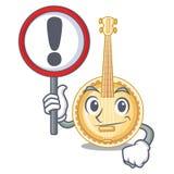 Con il vecchio banjo del segno nella mascotte di forma royalty illustrazione gratis