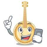 Con il vecchio banjo del telefono nella mascotte di forma royalty illustrazione gratis