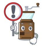 Con la amoladora de café de la muestra aislada en la mascota ilustración del vector
