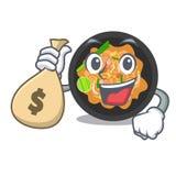 Con la borsa dei soldi picchietti tailandese isolata nel fumetto illustrazione di stock