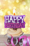 Con la candela di buon compleanno Fotografia Stock