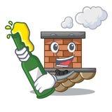 Con la chimenea del ladrillo de la cerveza siguiente el tejado de la historieta ilustración del vector