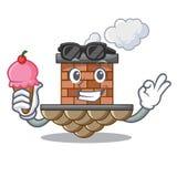 Con la chimenea del ladrillo del helado aislada en el carácter ilustración del vector