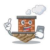 Con la chimenea del ladrillo del teléfono en la mascota de la forma ilustración del vector