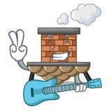Con la chimenea miniatura del ladrillo de la historieta de la guitarra sobre la tabla libre illustration