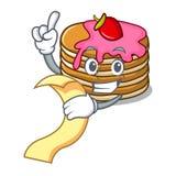 Con la crepe del menú con la historieta de la mascota de la fresa libre illustration
