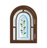 Con la finestra di vetro macchiato Fotografie Stock Libere da Diritti