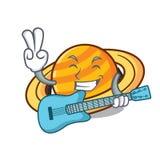 Con la historieta de la mascota del saturnus del planeta de la guitarra ilustración del vector