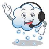 Con la historieta del carácter de la nube de la nieve del auricular Foto de archivo libre de regalías