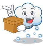 Con la historieta del carácter de la nube de la nieve de la caja Fotos de archivo libres de regalías
