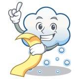 Con la historieta del carácter de la nube de la nieve del menú Foto de archivo