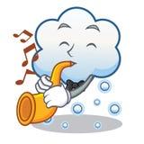 Con la historieta del carácter de la nube de la nieve de la trompeta Fotos de archivo libres de regalías
