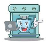 Con la historieta del carácter del fabricante de café del ordenador portátil ilustración del vector