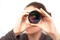 Con la opinión de lente de cámara fotografía de archivo