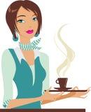 Con la taza de coffe Imagen de archivo