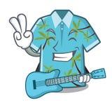 Con las camisas hawaianas de la guitarra dobladas en armario de la historieta stock de ilustración