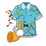 Con las camisas hawaianas de la trompeta dobladas en armario de la historieta libre illustration