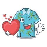 Con las camisas hawaianas del corazón dobladas en armario de la historieta libre illustration