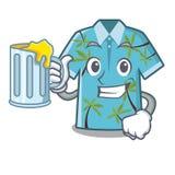 Con las camisas hawaianas del jugo dobladas en armario de la historieta ilustración del vector