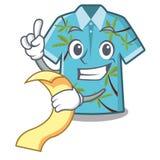 Con las camisas hawaianas del menú dobladas en armario de la historieta ilustración del vector