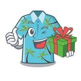 Con las camisas hawaianas del regalo dobladas en armario de la historieta libre illustration