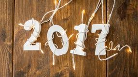 2017 con las luces de la Navidad Foto de archivo libre de regalías