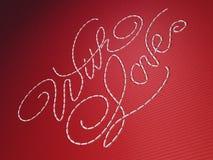 Con le parole del ricamo di amore su colore rosso Fotografia Stock