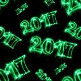 2017 con le stelle filante verdi su fondo nero Fotografie Stock