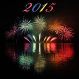 2015 con los fuegos artificiales Fotografía de archivo libre de regalías