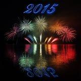 2015 con los fuegos artificiales Imagen de archivo