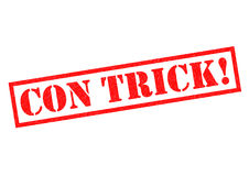 CON TRICK!. Red Rubber Stamp over a white background Royalty Free Stock Image