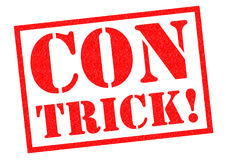 CON TRICK!. Red Rubber Stamp over a white background Royalty Free Stock Photos