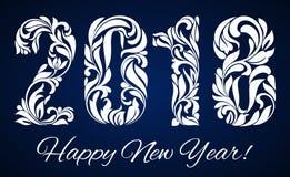 2018 con un modelo decorativo para las celebraciones de la Feliz Año Nuevo ilustración del vector