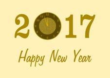 2017 con un reloj y una Feliz Año Nuevo Foto de archivo libre de regalías