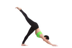 Con una sola pierna abajo persiga la actitud de la yoga Imagen de archivo