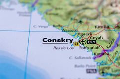 Conakry on map. Close up shot of Conakry. is the capital and largest city of Guinea Royalty Free Stock Image