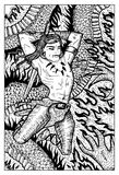 Conan Warrior Barbarian, illustration tirée par la main Photos libres de droits