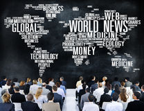 Conc information om massmedia för händelse för världsnyheterglobaliseringadvertizing Royaltyfri Bild