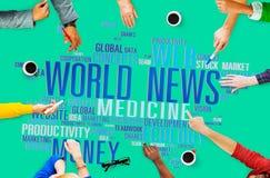 Conc information om massmedia för händelse för världsnyheterglobaliseringadvertizing Arkivbilder