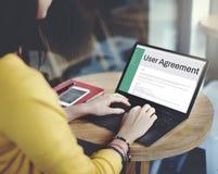 Conc reglering för politik för regel för uttryck och för villkor för användareöverenskommelse Fotografering för Bildbyråer