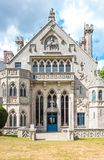 Landscapes and architectures of Brittany. Concarneau, France - August 10, 2017: Detail of the main facade of the De  Keriolet castle Royalty Free Stock Photo