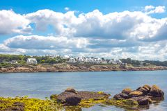 Landscapes and architectures of Brittany. Concarneau, France, the coastline of the Porzou quarter seen from the De La Croix seafront Stock Photos