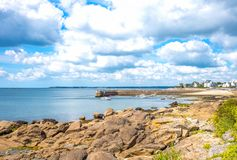 Landscapes and architectures of Brittany. Concarneau, France, the coastline with the Rodel  small harbor seen from the De La Croix seafront Stock Photos