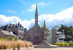 Landscapes and architectures of Brittany. Concarneau, France, view of De La Croix chapel in the De La Croix seafront Stock Photos