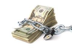 Concatenato su soldi Fotografia Stock
