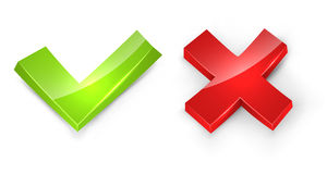 Concaved 3D tick and cross signs Stock Images