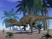 Concavenator dinosaur roaring in the desert - 3D render. Concavenator dinosaur roaring in the desert by day - 3D render royalty free illustration