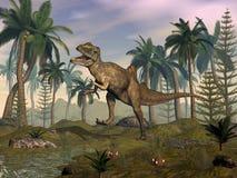 Concavenator dinosaur roaring in the desert - 3D render. Concavenator dinosaur roaring in the desert with palmtrees by sunset - 3D render stock illustration